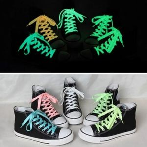 Glow in the dark, luminous shoelaces. Green, white